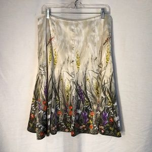 Chicos Large Skirt Silk Floral Below Knee 1195